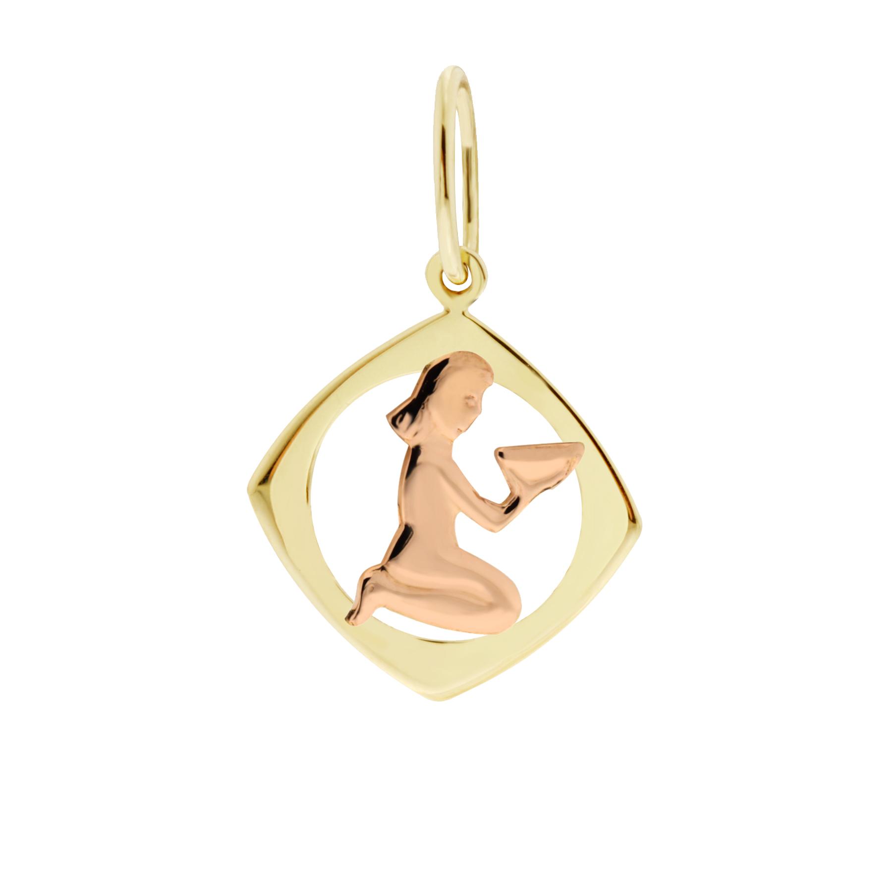 Zlatý přívěsek - znamení zvěrokruhu Panna Tvar: Čtvereček, hladký rámeček