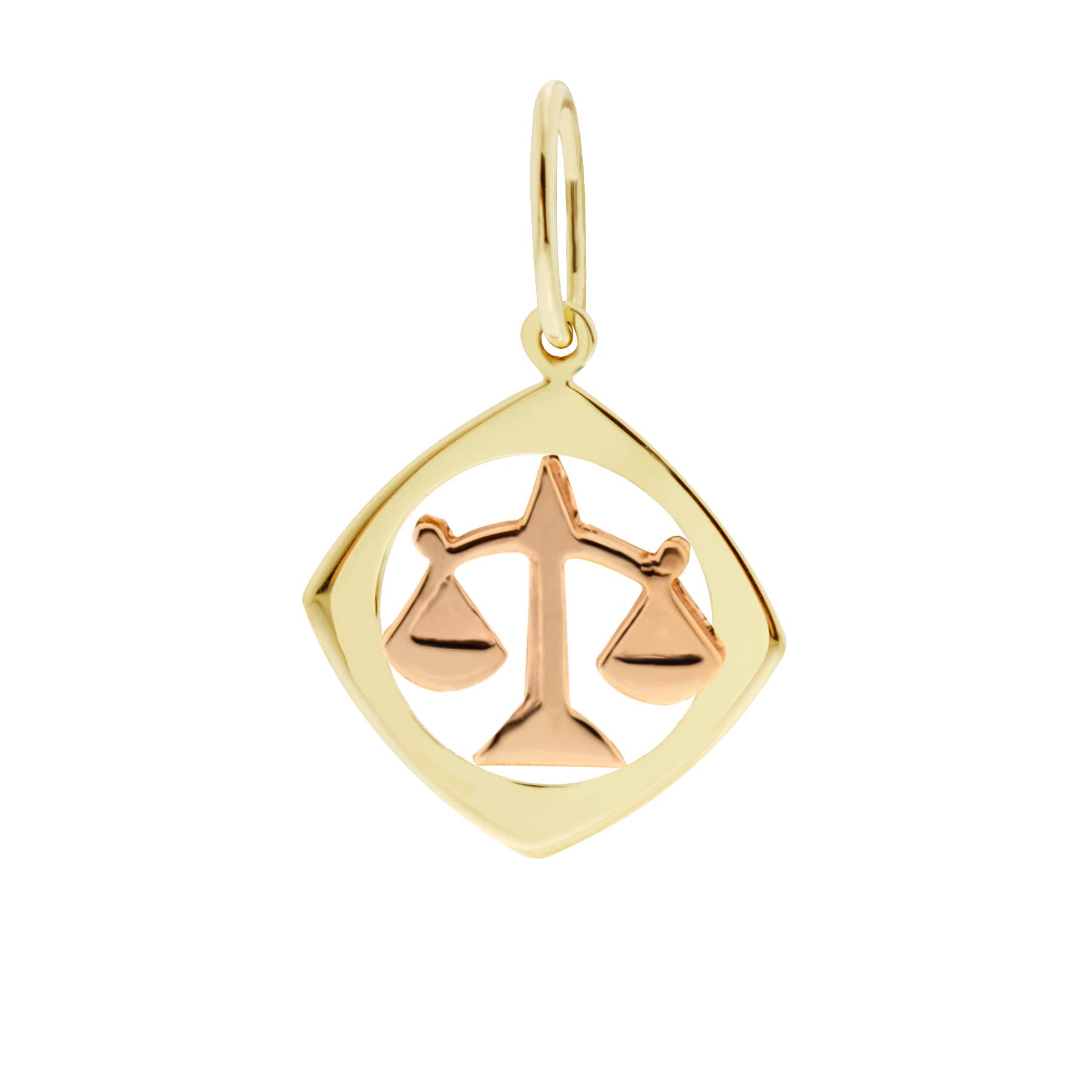Zlatý přívěsek - znamení zvěrokruhu Váhy Tvar: Čtvereček, hladký rámeček