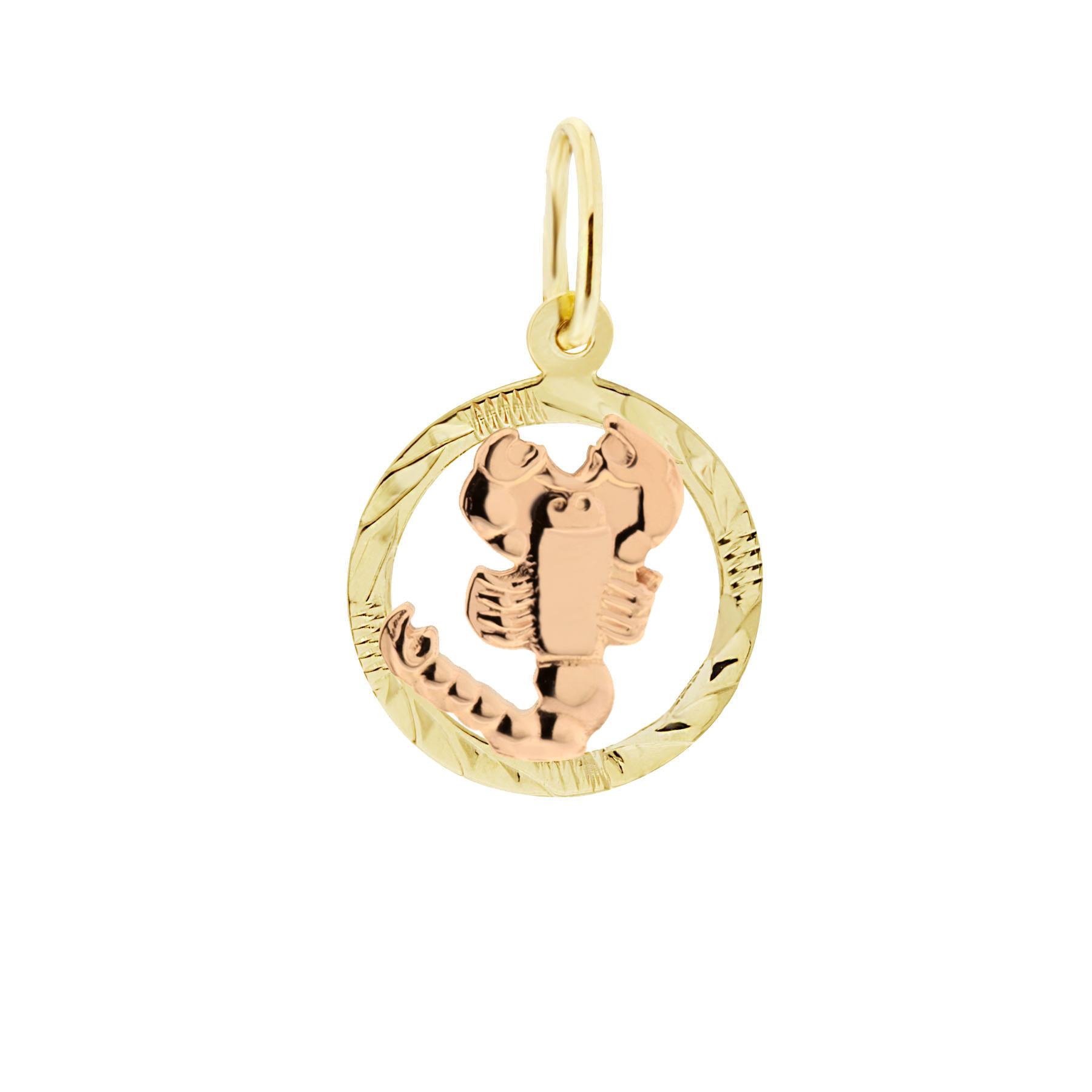 Zlatý přívěsek - znamení zvěrokruhu Štír Tvar: Kolečko, rytý rámeček