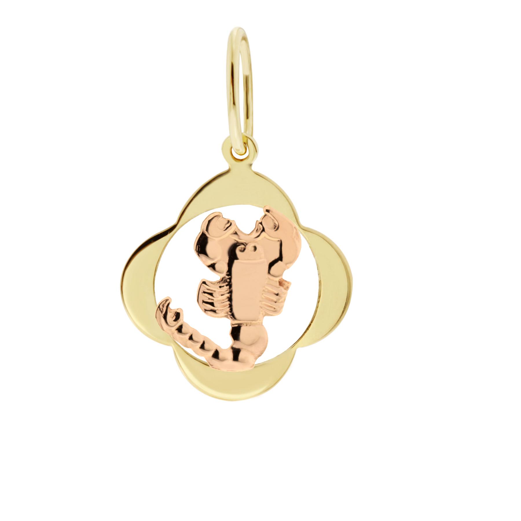 Zlatý přívěsek - znamení zvěrokruhu Štír Tvar: Čtyřlístek, hladký rámeček