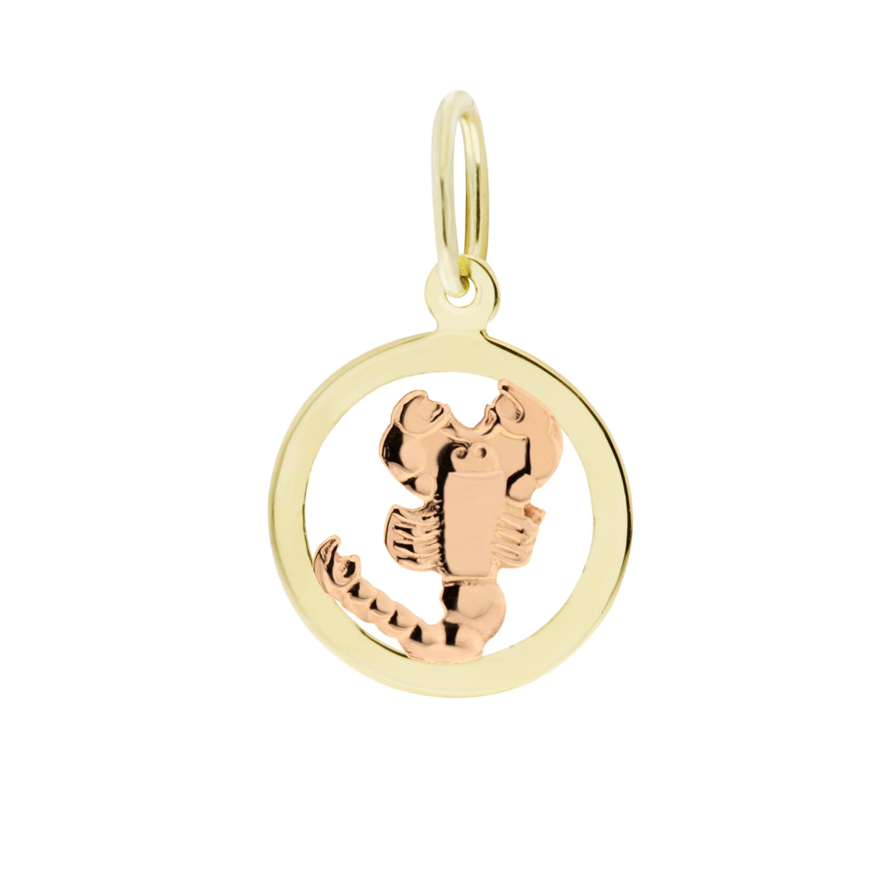 Zlatý přívěsek - znamení zvěrokruhu Štír Tvar: Kolečko, hladký rámeček