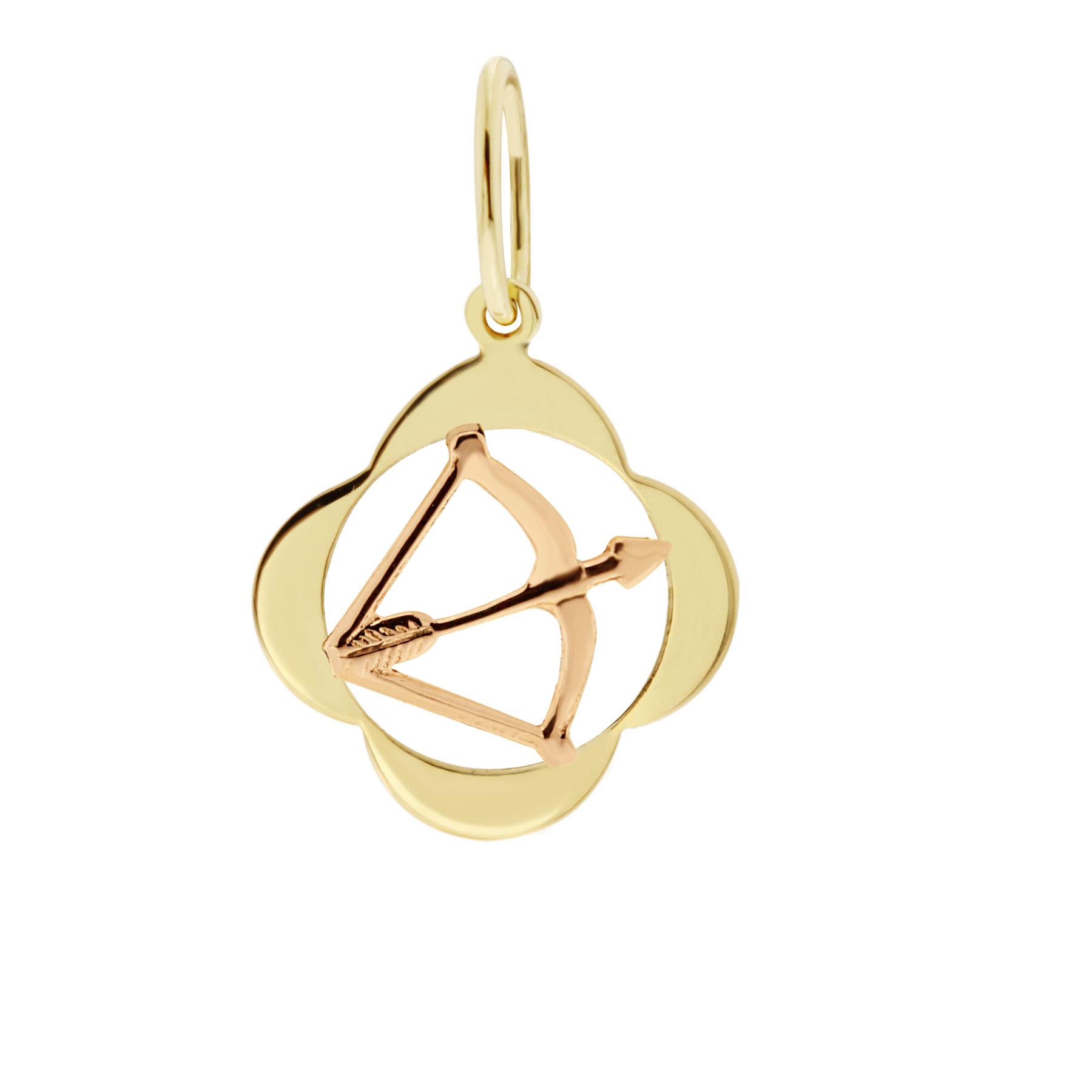Zlatý přívěsek - znamení zvěrokruhu Střelec Tvar: Čtyřlístek, hladký rámeček
