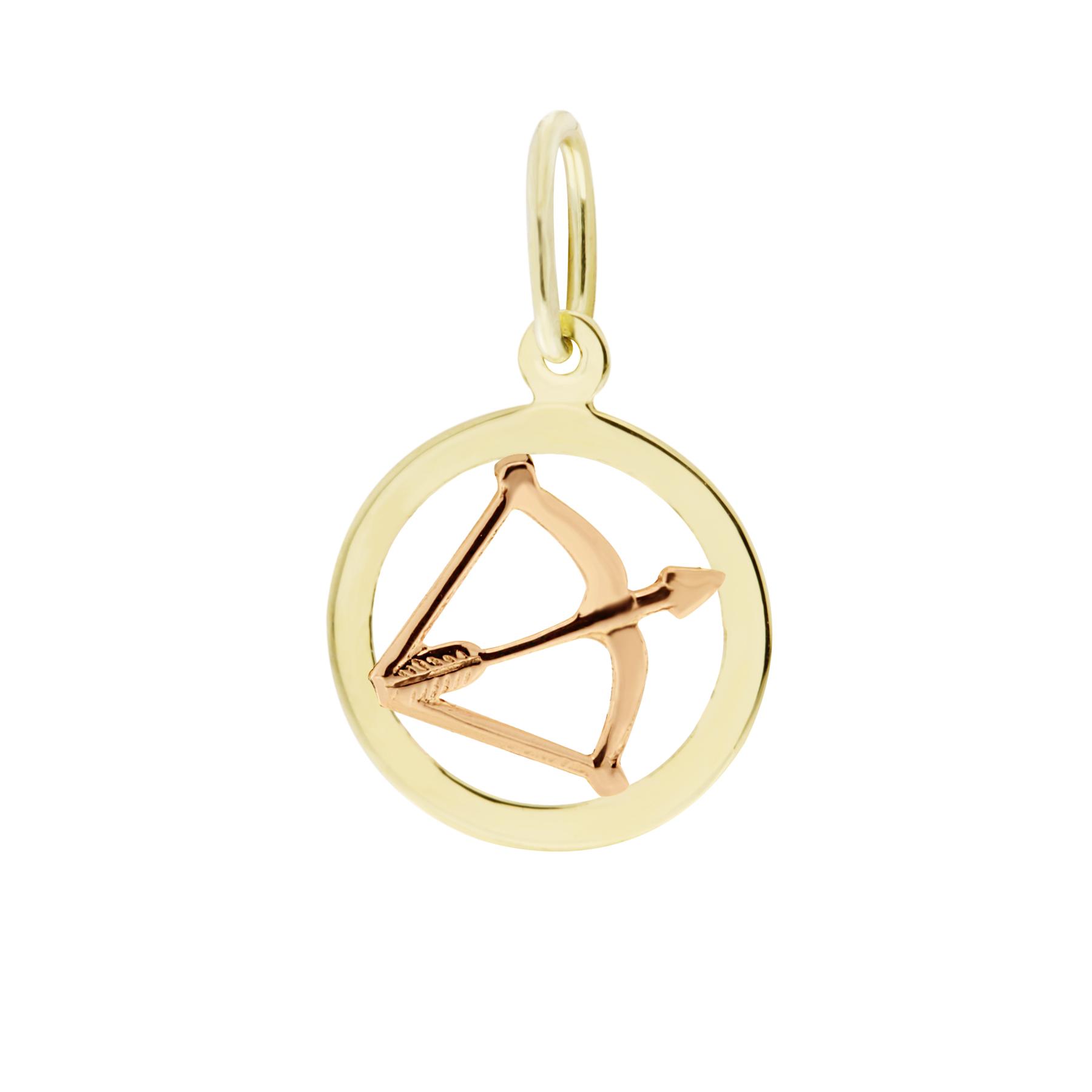 Zlatý přívěsek - znamení zvěrokruhu Střelec Tvar: Kolečko, hladký rámeček