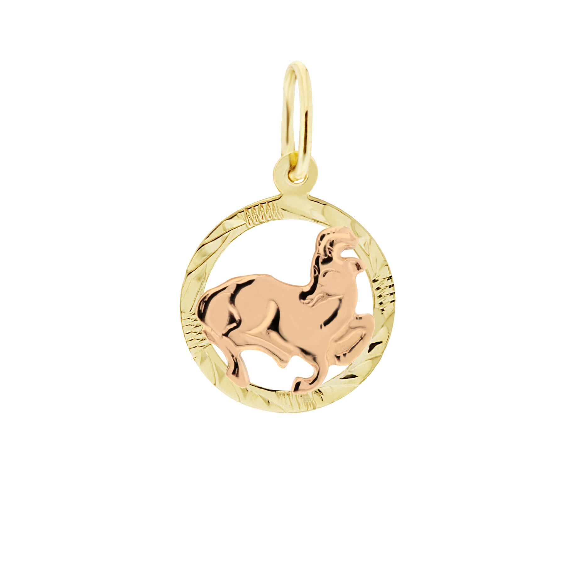 Zlatý přívěsek - znamení zvěrokruhu Kozoroh Tvar: Kolečko, rytý rámeček