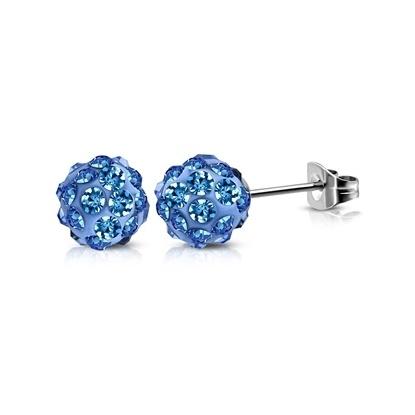 Ocelové náušnice - světle modré kuličky