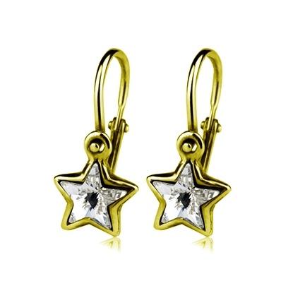 Dětské zlaté náušnice Swarovski - čiré hvězdičky