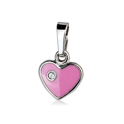 Dětský stříbrný přívěsek - růžové srdíčko