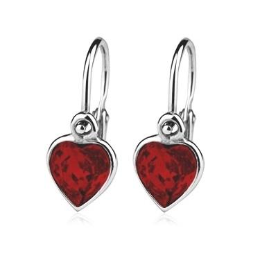 Dětské stříbrné náušnice, krystaly Swarovski - srdce červené