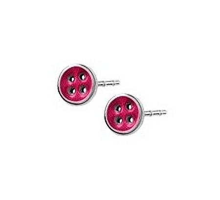 Ocelové náušnice - červené knoflíčky