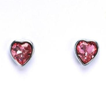 Stříbrné dětské náušnice s krystaly Swarovski - růžové srdíčko