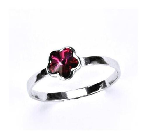 Stříbrný dětský prsten - tmavě růžové srdíčko Varianta:: Velikost 40