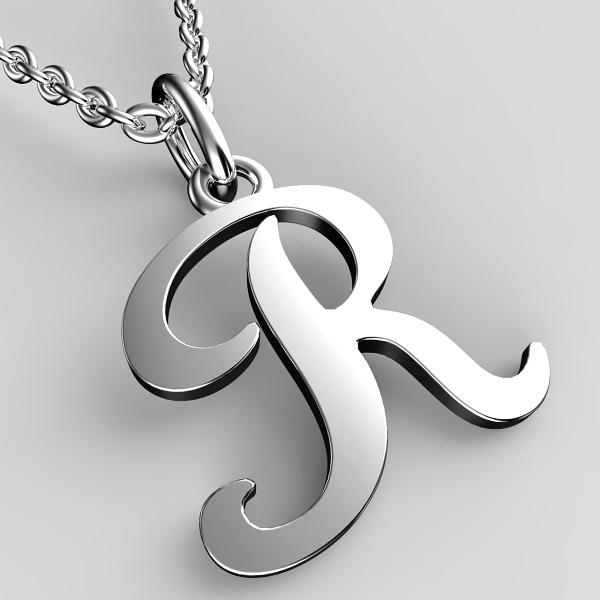 Přívěsky z bílého zlata - písmenka A-Z Písmeno: R