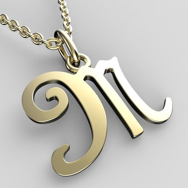 Přívěsky ze žlutého zlata - písmenka A-Z Písmeno: M