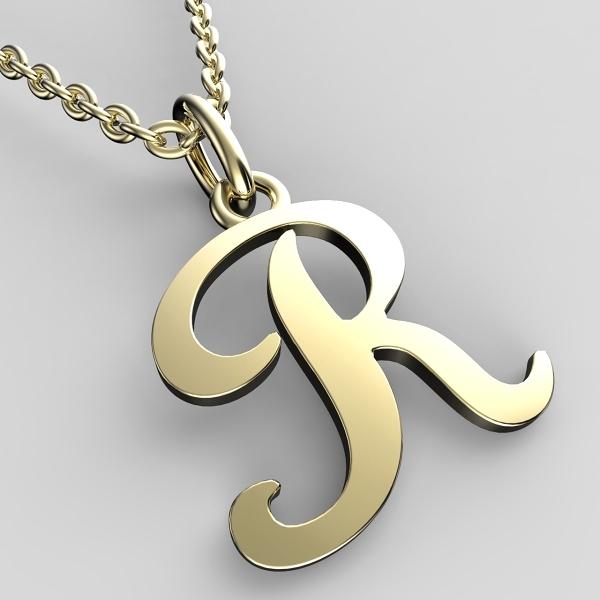 Přívěsky ze žlutého zlata - písmenka A-Z Písmeno: R