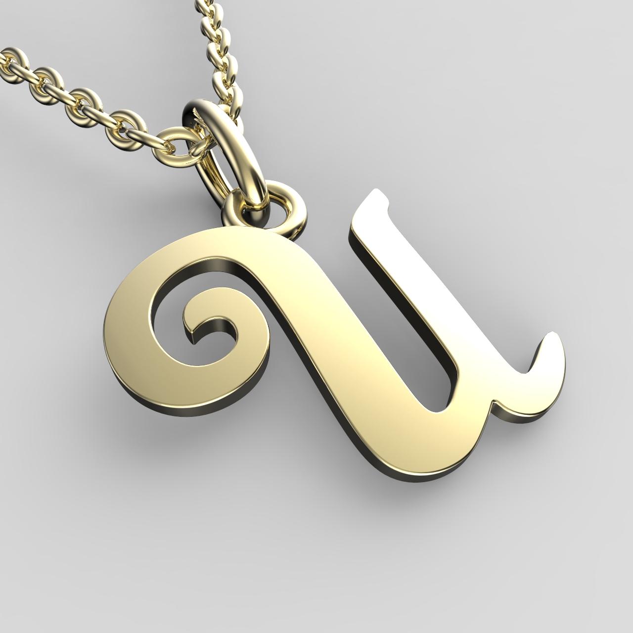 Přívěsky ze žlutého zlata - písmenka A-Z Písmeno: U