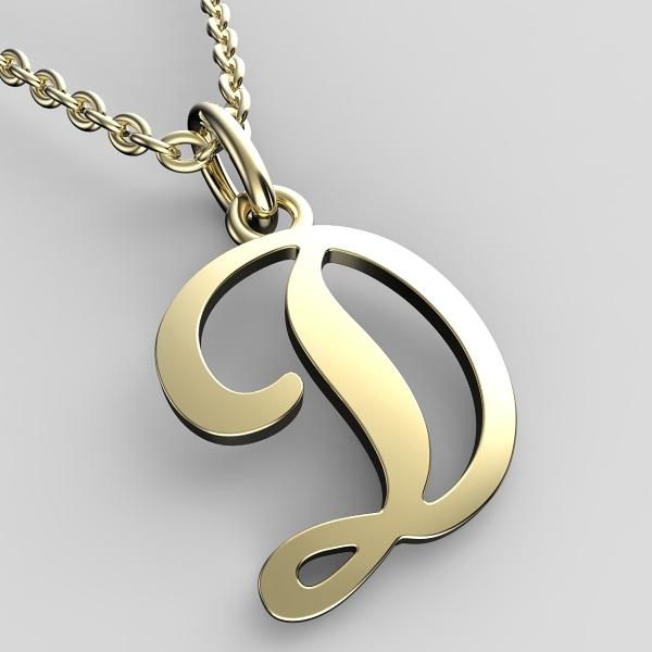 Přívěsky ze žlutého zlata - písmenka A-Z Písmeno: D
