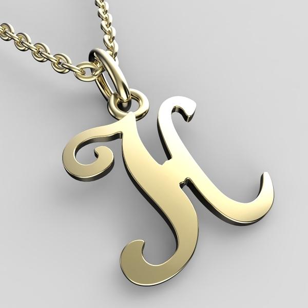 Přívěsky ze žlutého zlata - písmenka A-Z Písmeno: H
