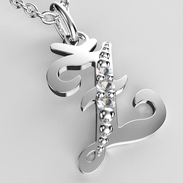 Přívěsky z bílého zlata se zirkony - písmenka A-Z Písmeno: Ž