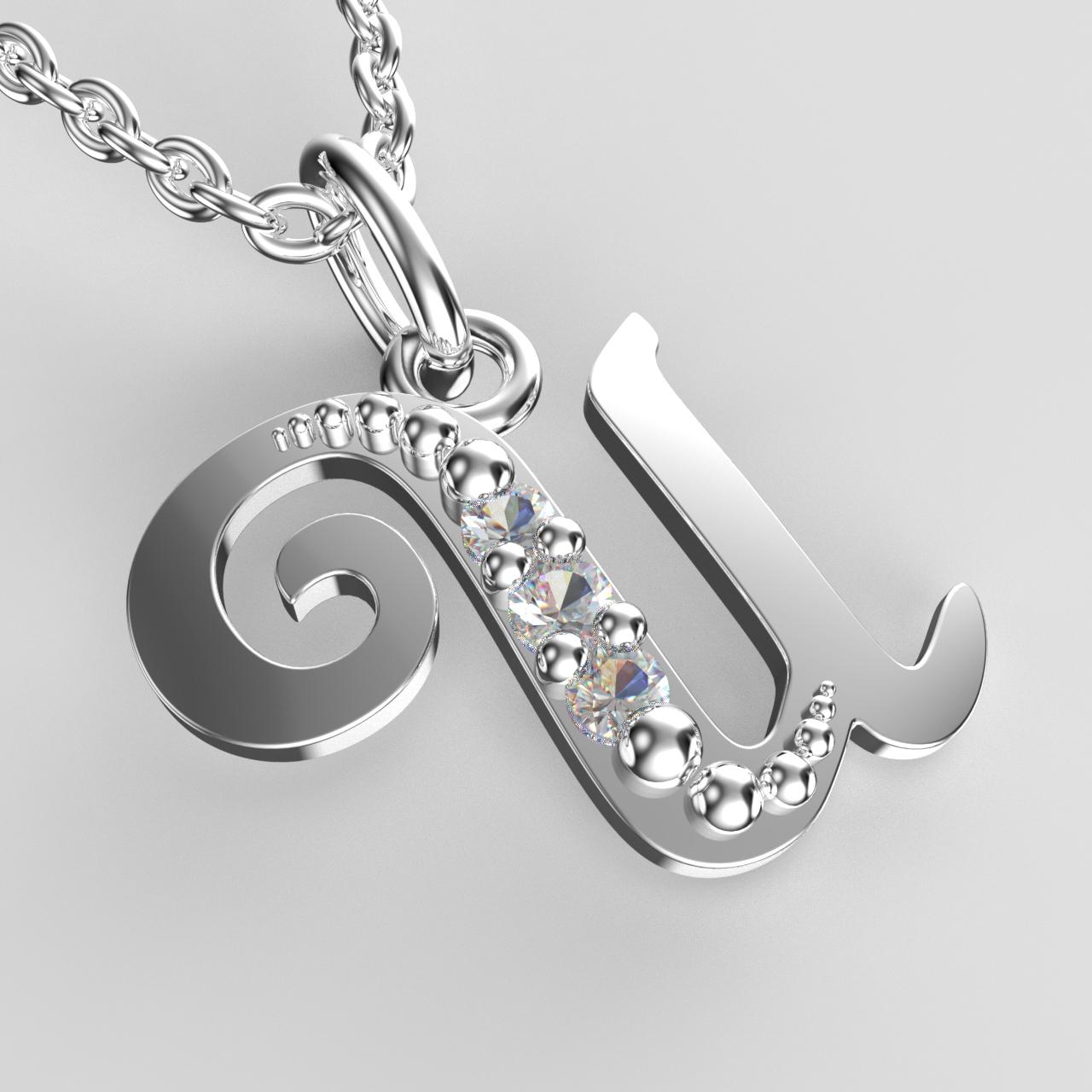 Přívěsky z bílého zlata se zirkony - písmenka A-Z Písmeno: U