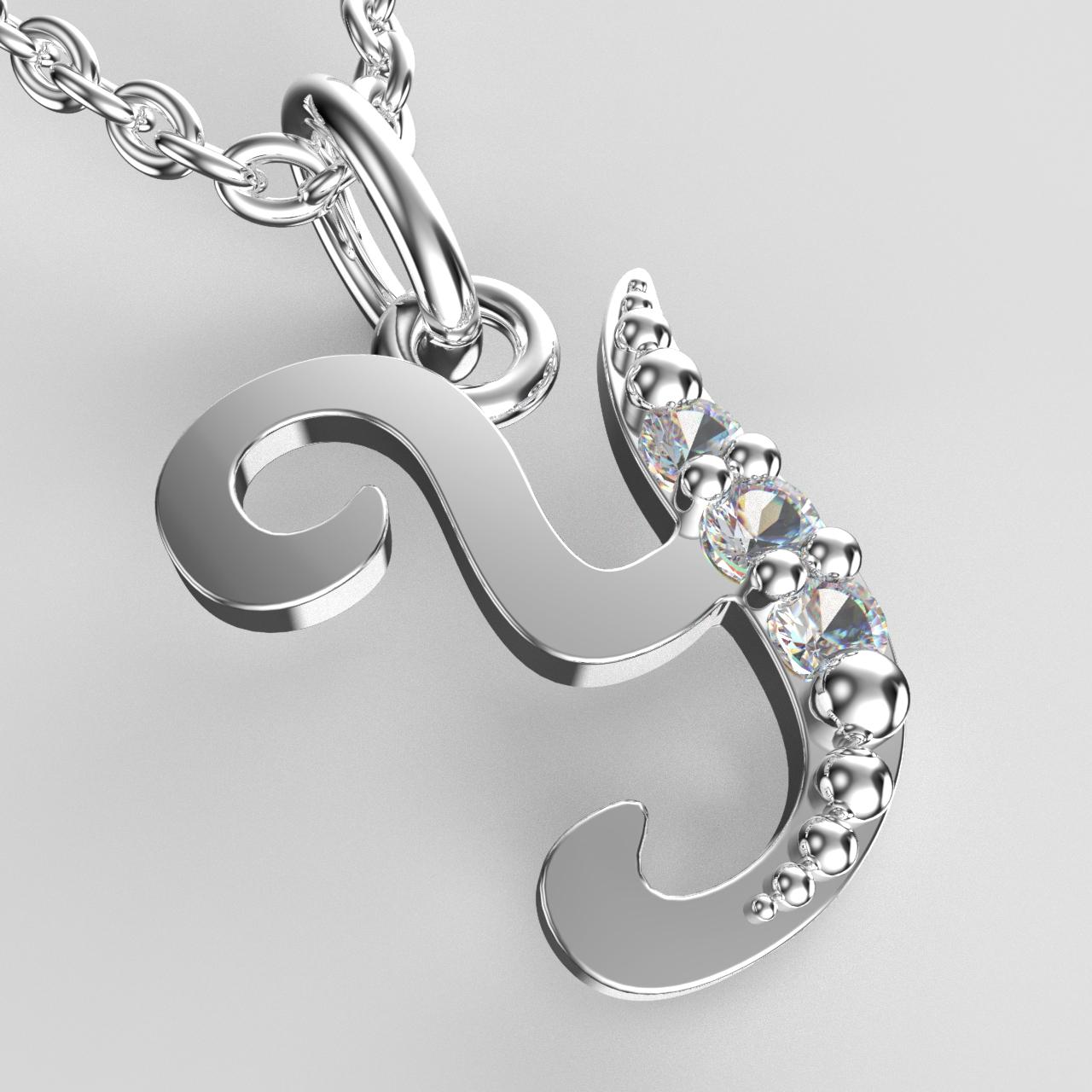Přívěsky z bílého zlata se zirkony - písmenka A-Z Písmeno: Y