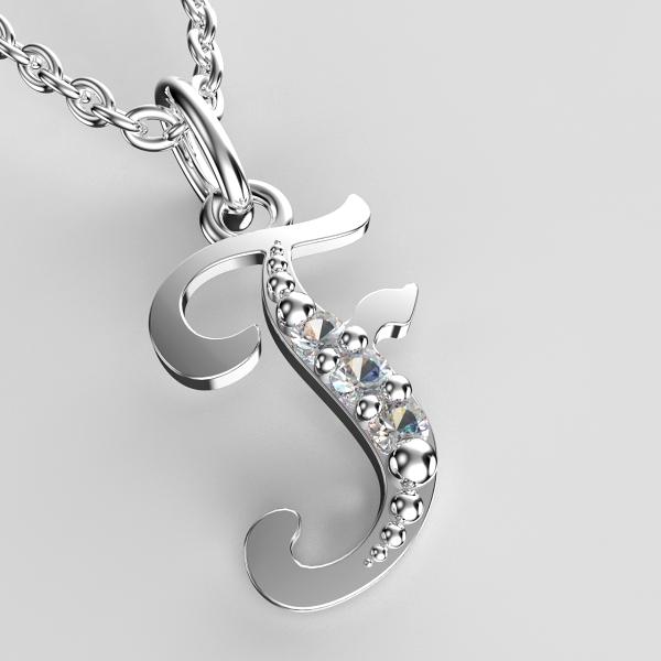 Přívěsky z bílého zlata se zirkony - písmenka A-Z Písmeno: F