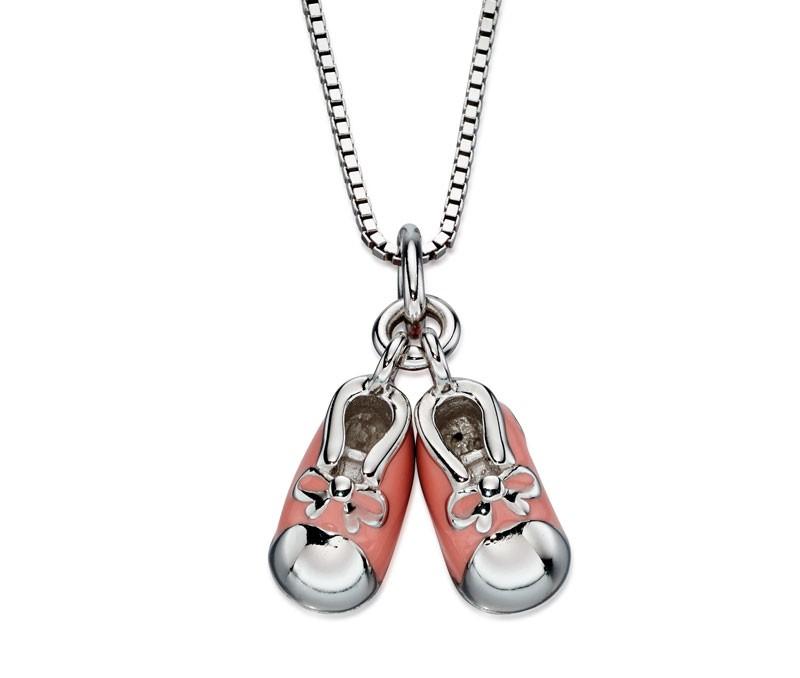 Stříbrný dětský náhrdelník s růžovými botičkami - s diamantem