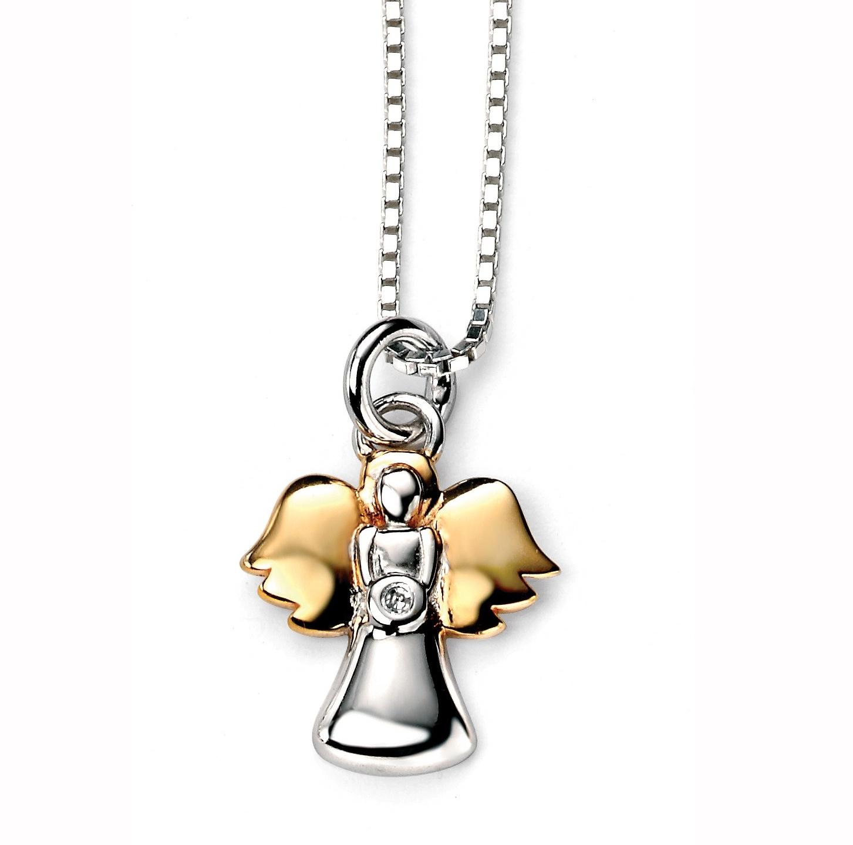 Stříbrný dětský náhrdelník s pozlaceným andílkem - diamant
