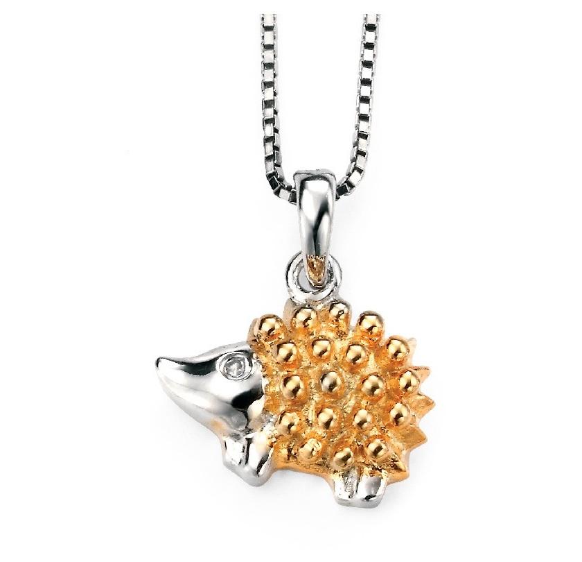 Stříbrný dětský náhrdelník s pozlaceným ježkem