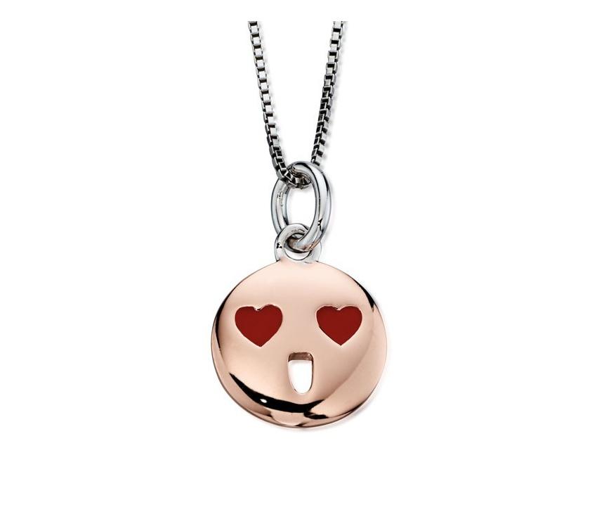 Stříbrný dětský náhrdelník s pozlaceným smajlíkem
