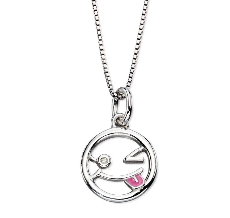 Stříbrný dětský náhrdelník se smajlíkem - diamant