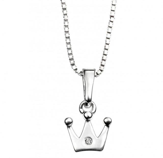 Stříbrný dětský náhrdelník s korunkou - diamant