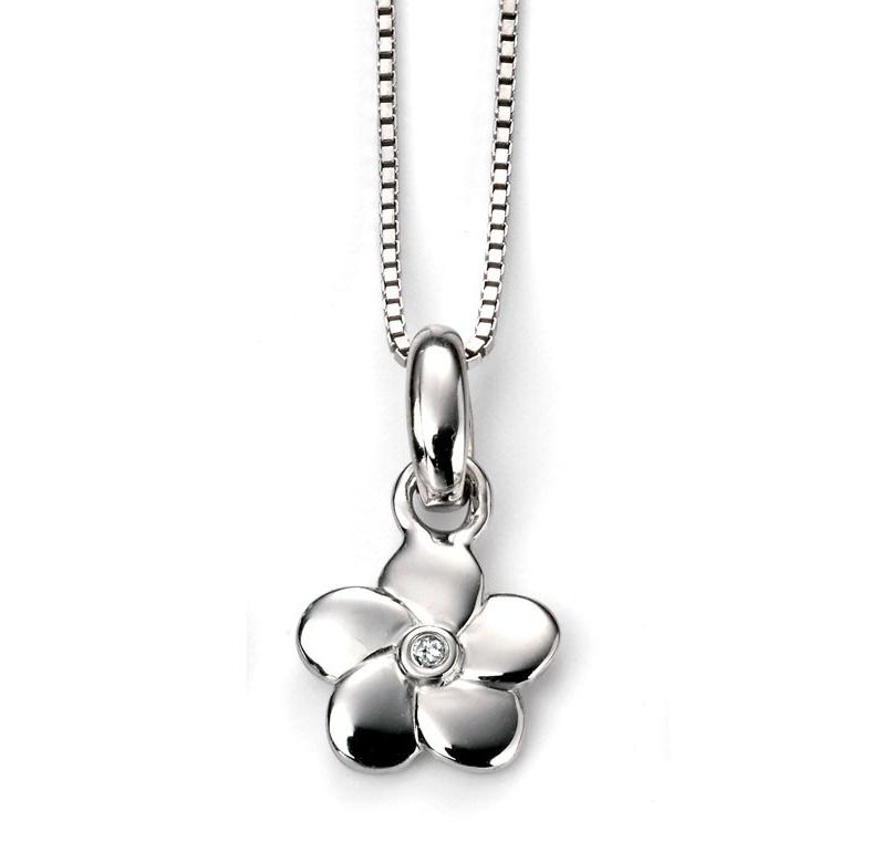 Stříbrný dětský náhrdelník s kytičkou - diamant
