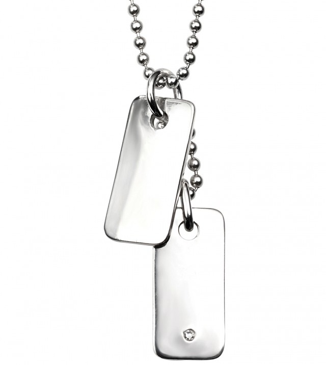 Stříbrný dětský náhrdelník - destičky s diamantem Přívěsek: bez rytiny