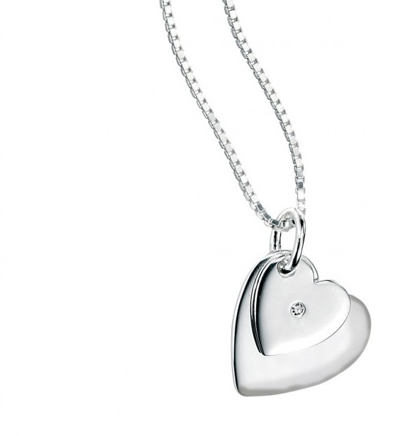 Stříbrný dětský náhrdelník se srdíčky a diamantem Přívěsek: bez rytiny