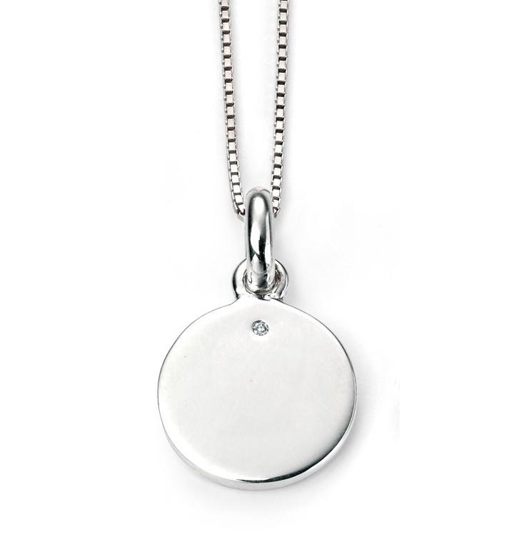 Stříbrný dětský náhrdelník s kulatou destičkou a diamantem Přívěsek: bez rytiny