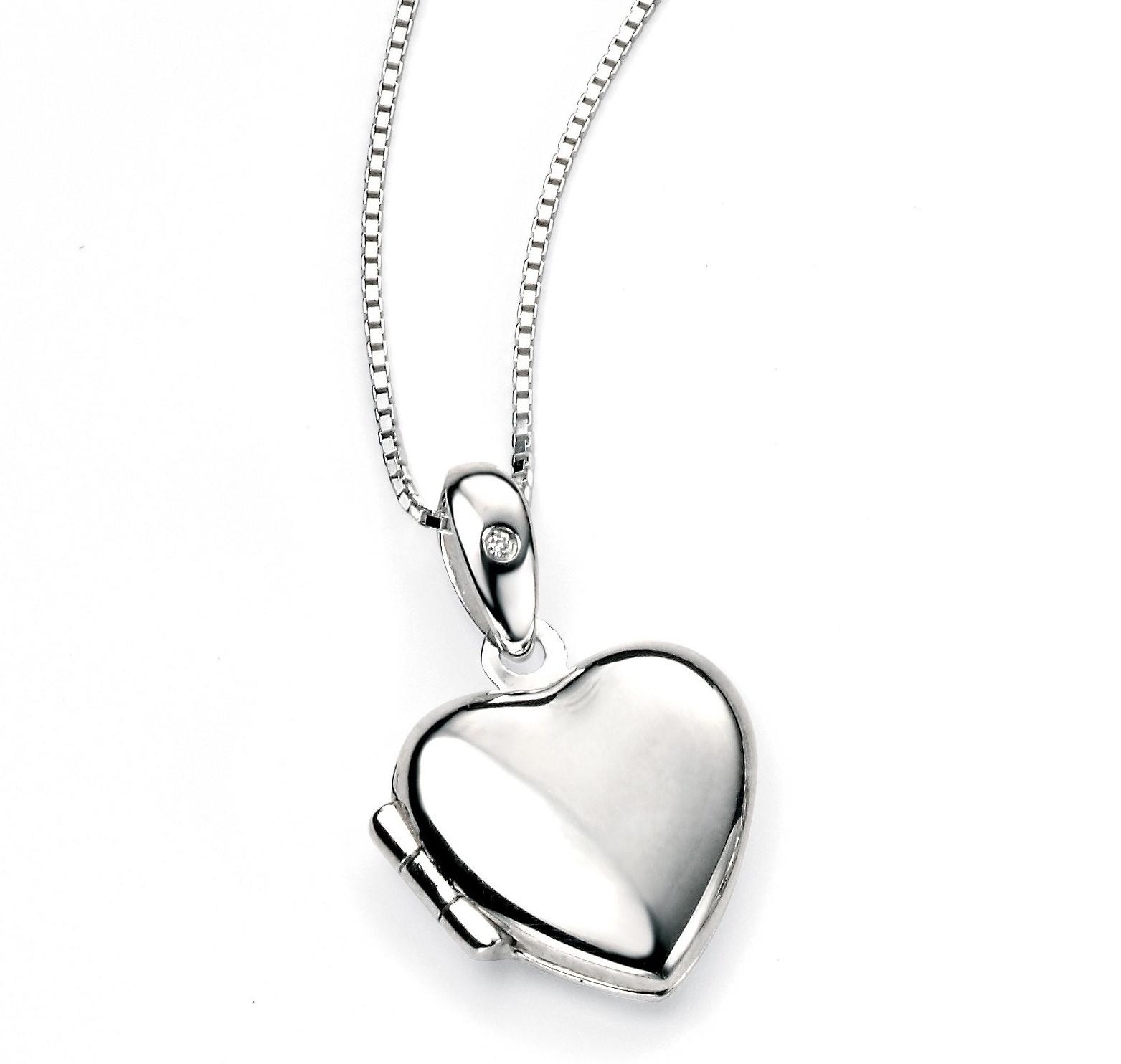 Stříbrný otevírací medailonek - srdíčko s diamantem Přívěsek: bez rytiny