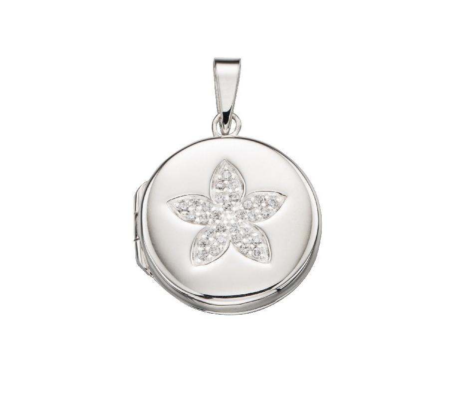 Stříbrný otevírací medailonek kulatý Medailonek bez rytiny: Bez rytiny