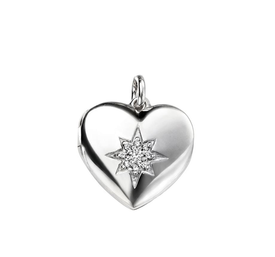 Stříbrný otevírací medailonek - srdíčko zdobené