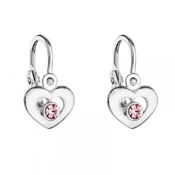 Dětské stříbrné náušnice s růžovým krystalem Swarovski - srdíčko