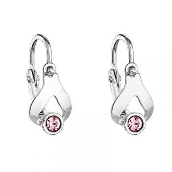 Dětské stříbrné náušnice s růžovým krystalem Swarovski