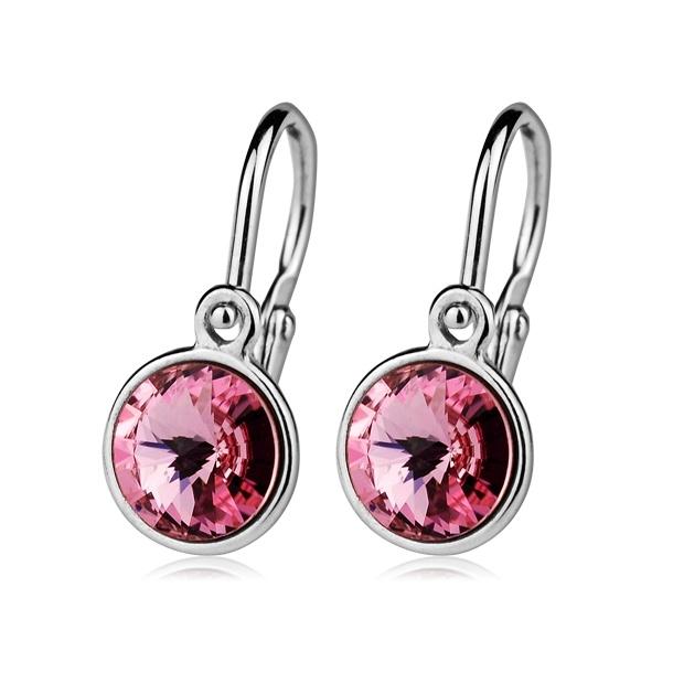 Dětské stříbrné náušnice s růžovými krystaly Swarovski
