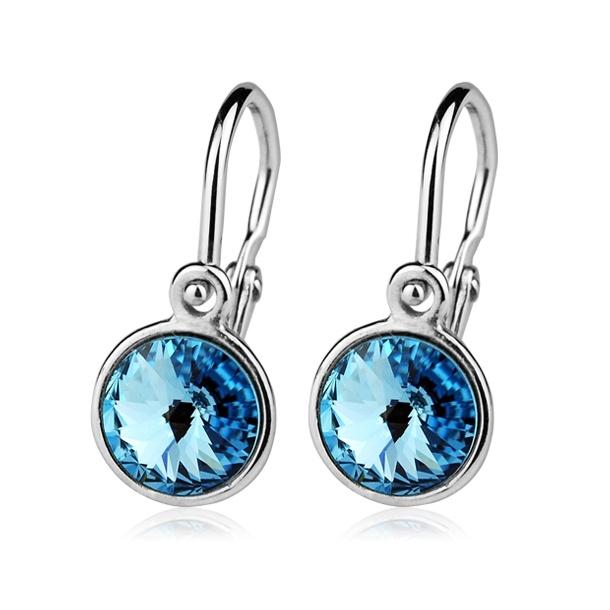 Dětské stříbrné náušnice s modrými krystaly Swarovski