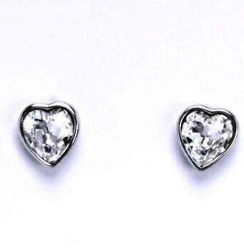 Stříbrné dětské náušnice s krystalem Swarovski - čiré srdce