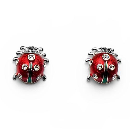 Dětské náušnice s krystaly Swarovski Oliver Weber Ladybug 9760 - berušky
