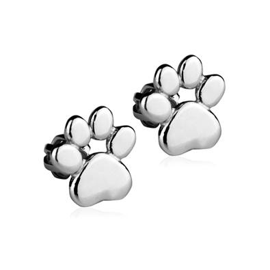 Stříbrné náušnice na šroubek - psí tlapky
