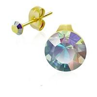 Ocelové pozlacené náušnice s duhovými krystaly po děti