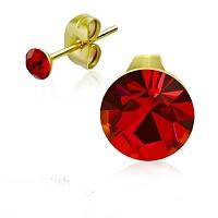 Ocelové pozlacené náušnice s červenými krystaly pro děti