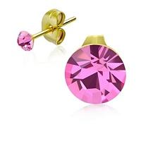 Ocelové pozlacené náušnice s růžovými krystaly pro děti