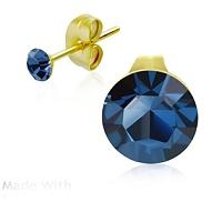 Ocelové pozlacené náušnice s modrými krystaly pro děti