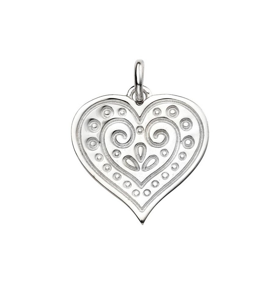 Stříbrný přívěsek - srdíčko zdobené ornamenty